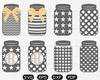 Mason jar Svg, Mason jar Clipart, Monogram Frame cricut, cameo, silhouette cut files commercial & personal use