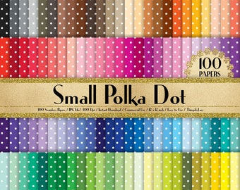 """100 Seamless Small Polka Dot Papers in 12"""" x 12"""", 300 Dpi Planner Paper, Commercial Use, Scrapbook Papers, Rainbow Paper, 100 Dot Paper"""