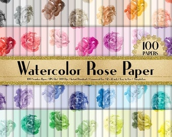 100 Seamless Watercolor Rose Papers 12 inch,300 Dpi Planner Paper,Commercial Use,Scrapbook Paper,Rainbow Paper,100 Papers,Watercolor Rose