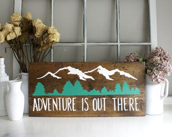 Adventure Rustic Wooden Sign  |  Hand Lettered  |  Home Decor  |  Gift Idea  |  Farmhouse Style