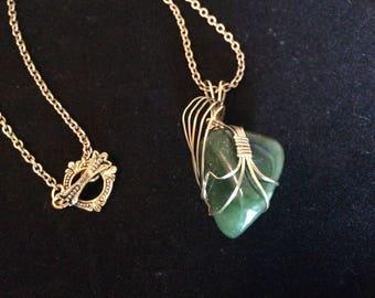 Woman's Jade Wrapped Cabochon//Jewelry//Dream Stone//Healing Stone//12th anniversary stone