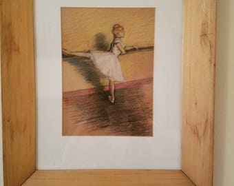 After EDGAR DEGAS pastel DANCER drawing