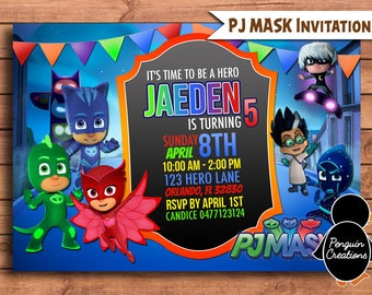 PJ Mask Invitation. PJ Mask Birthday Party. Superhero Birthday. Party Supplies.