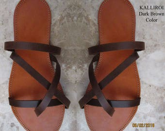 Sandals Women's,Women's Sandals, Leather Sandals,Greek Sandals,Handmade Sandals ,Classic Dark Brown Color ,Sandals, KALLIROI ( Ειδική Τιμή )