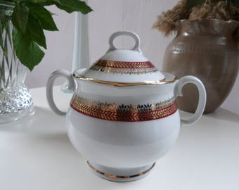 Porcelain sugar bowl French set gold and red, gold border, 1950