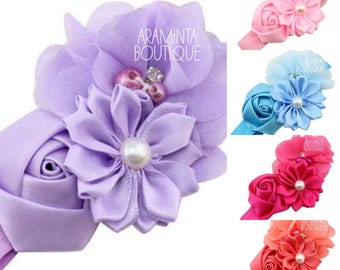 Baby Flower headbands, pink, hot pink, lilac, blue & coral with pearls and diamanté detail