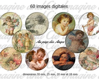 The country of angels / Cabochon digital image instant download collage sheet digital bottle cap printable instant download