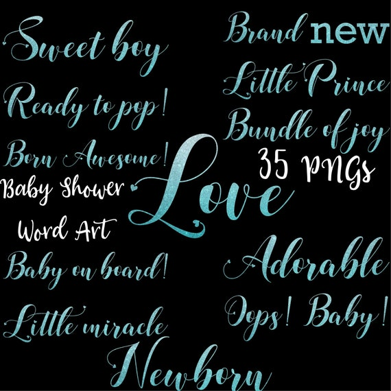 blue baby boy baby shower words word art clipart blue glitter