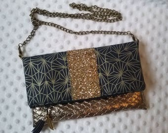Faux leather glitter clutch bag