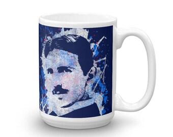 Nikola Tesla Splatter Portrait Mug