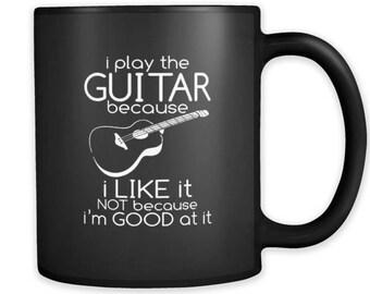 Play The Guitar Musician Guitarist black ceramic 11oz mug