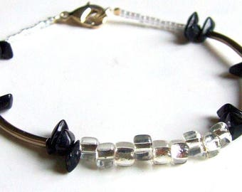 Black silver bracelet Japanese and Czech glass beads and Silver metallic tubes