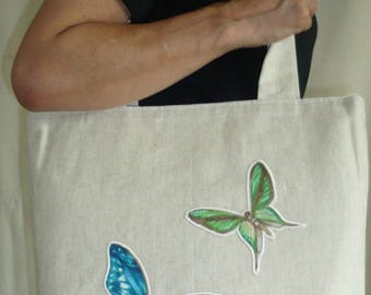 Tote applying small butterfly on canvas calf