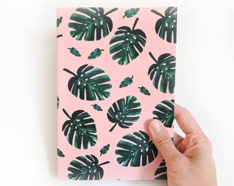 Monstera Leaves Pattern Notebook, Journal – 80 blank pages with sewn stitch binding