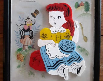 Vintage puzzle 1962/ Little Miss Muffet and the Spider/magnetic puzzle/wall decoration/old toy/collectible toy/vintage toy/child puzzle