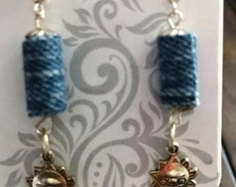 Recycle Denim Earrings with Charm