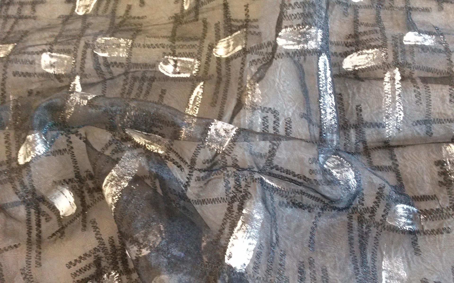 Coupon 65 x 150 cm organza brod e noir haute couture imprim for Coupon haute couture