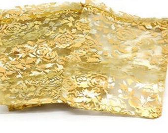 4 LARGE ORGANZA POUCHES WITH FLOWERS GOLDEN JEWELRY AND GIFTS