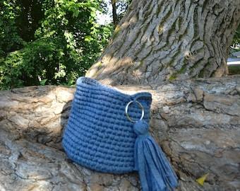 Blue croched basket