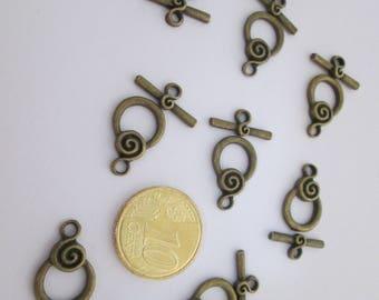 8 fermoir toggle rond en métal couleur bronze antique