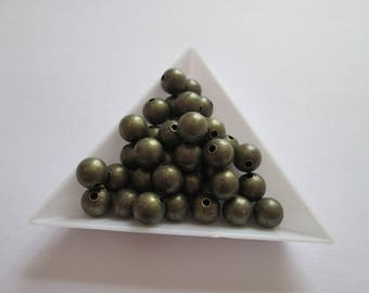 25 perles bille lisse en métal bronze 8 mm