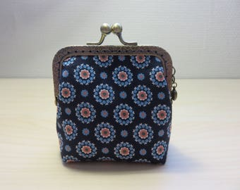 Coin purse clasp, Navy blue fabric flowers