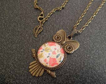 """Necklace """"OWL and flowers."""