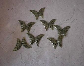 set of 5 Butterfly connectors bronze 4.1 x 2.9 cm
