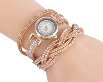 x 1 wristwatch leather PU coffee Multi strand pattern rhinestones/goldtone 39 cm