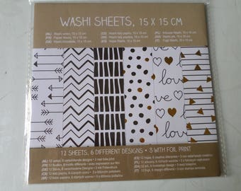 12 sheets of washi paper stickers x 6 different patterns 15 x 15 cm