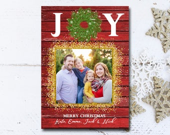 Joy Christmas Card Template, Christmas, Christmas Card, Holiday Card Template, Photo Card, Joy Card, Red Christmas Card