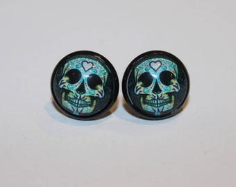 Blue Day Of The Dead Studs / Sugar Skull Studs