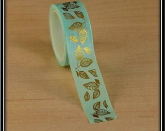 masking tape foliage with foil gold on mint Green 15mm x 3 m