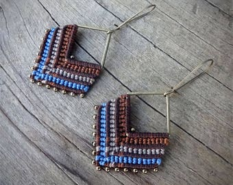 macrame earrings, beaded earrings, zamak square