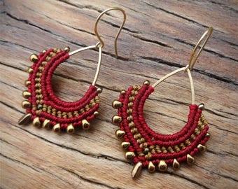 macrame earrings, Miyuki beads, gold plated earwires, brass drop, burgundy earrings