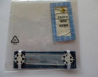 2 stickers tags Christmas theme stickers for cardmaking or scrapbooking