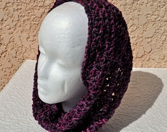 Hand Crocheted Infinity Scarf / Hood in hand-dyed, variegated burgundy super-soft, washable Malabrigo wool