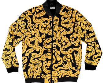 Gold Pattern Bomber Jacket