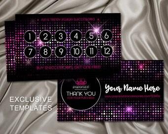 Paparazzi Business Card, Paparazzi Punch Card, Paparazzi Jewelry Consultant Card, Paparazzi Loyalty, Vistaprint, Glitter Pink Purple, PPC1
