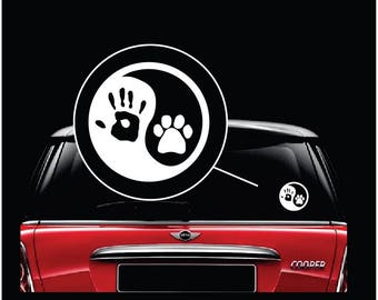 Yin Yang Hand Paw Print Car Window Decal Sticker