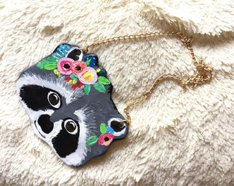 Raccoon necklace, handmade and handpainted polymer clay necklace