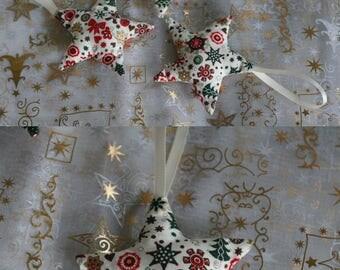 Fabric Christmas ornaments: stars