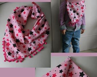 "Scarf ""Star burst"" girl pink"