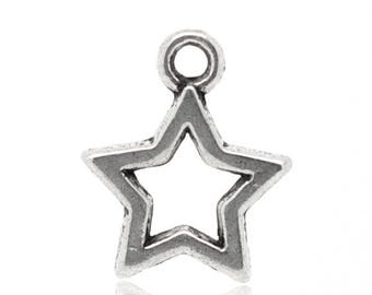 PB174 - Set of 8 charms star, empty star outline metal silver 15x12mm
