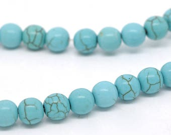 PP27 set of 10 round 8mm turquoise howlite beads