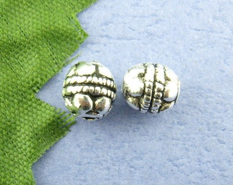 PM18 - Set of 12 round beads metal Bali silver 5x5mm