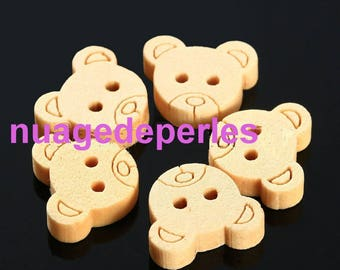 5 wooden bear buttons