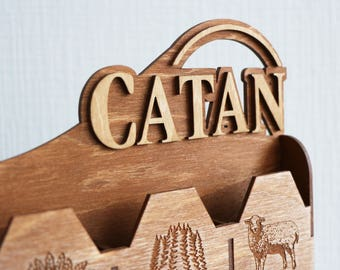 Settlers of Catan Resource Cards. Handmade. Custom, Board game. Wood, Laser Cut. Card Holder. In stock.