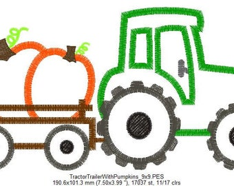 Tractor Trailer With Pumpkins Applique Embroidery Design