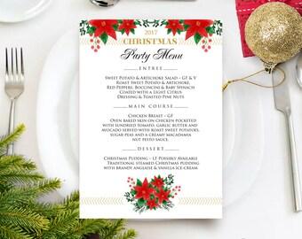 Poinsettia Flowers Menu Wedding Menu Winter Party Menu Printable Menu Card Floral Holiday Menu Template Winter Rustic Red Gold Menu Editable